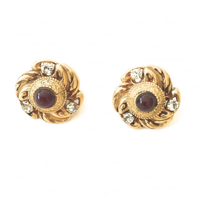 Vintage Madame Gripoix for Chanel earrings gold plated with garnet and clear paste French